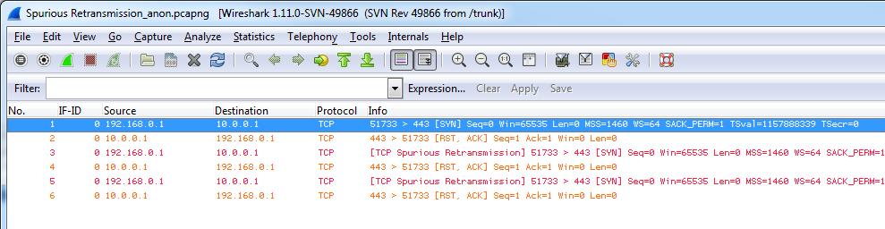 Spurious Retransmission Sample