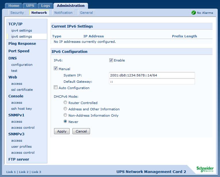 APC UPS IPv6 Config