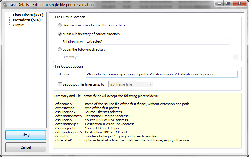 TraceWrangler Extraction Output Settings