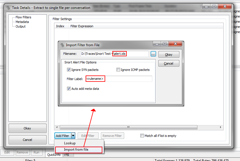 TraceWrangler ExtractionTask Add Filter From File