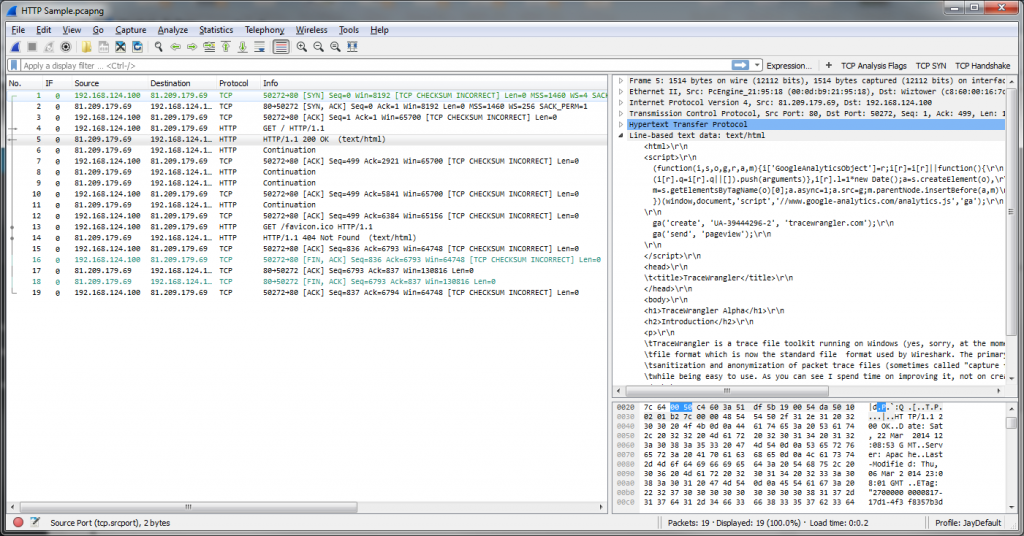 Wireshark decoding HTTP