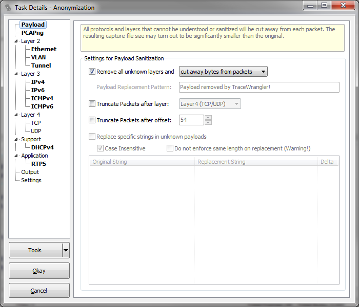 Settings for trace file sanitization