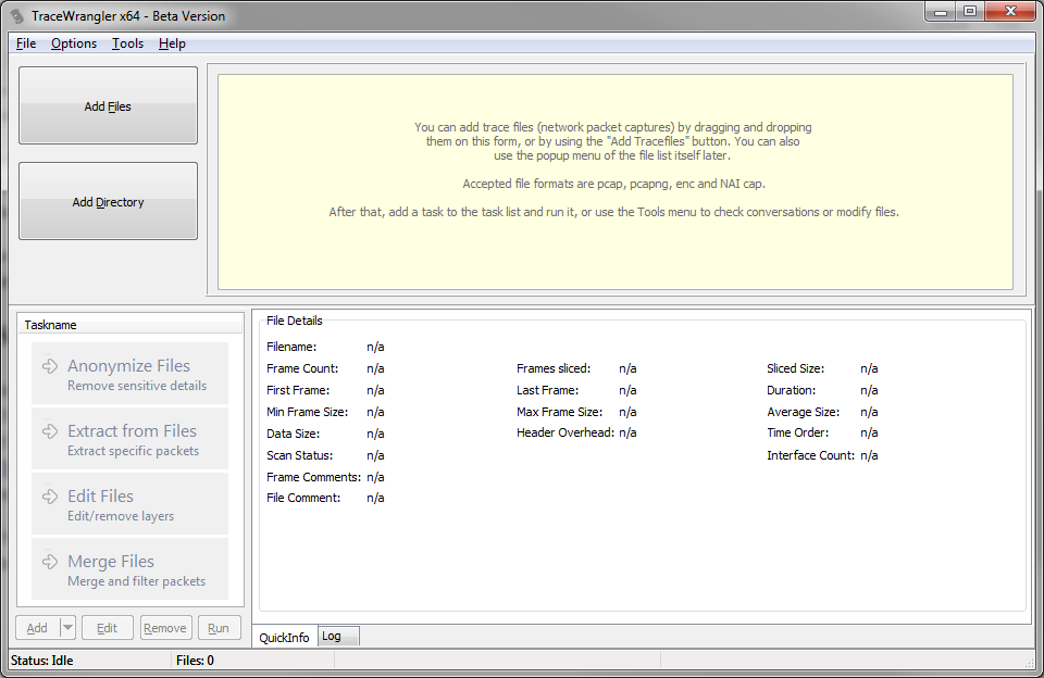 TraceWrangler Main Window after start
